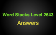Word Stacks Level 2643 Answers