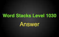 Word Stacks Level 1030 Answers