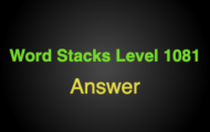 Word Stacks Level 1081 Answers