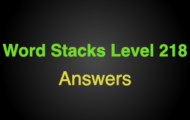 Word Stacks Level 218 Answers