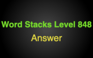 Word Stacks Level 848 Answers