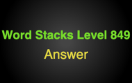 Word Stacks Level 849 Answers