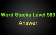 Word Stacks Level 989 Answers