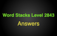 Word Stacks Level 2843 Answers