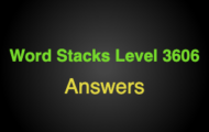 Word Stacks Level 3606 Answers