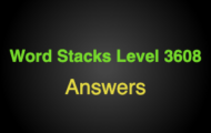 Word Stacks Level 3608 Answers