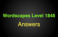 Wordscapes Level 1848 Answers