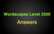 Wordscapes Level 2500 Answers
