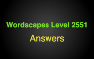 Wordscapes Level 2551 Answers