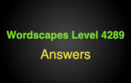 Wordscapes Level 4289 Answers