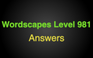 Wordscapes Level 981 Answers